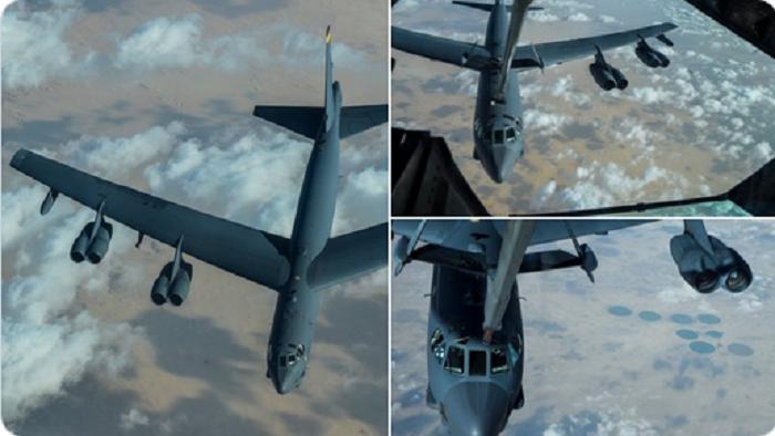 Maraykanka Oo Diyaarada Wax Duqaysa Ee B-52 Dulmariyey Bariga Dhexe Iyo Iran Oo Cambaaraysay