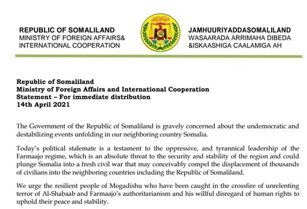 Somaliland Oo Walaac Ka Muujisay Jahawareerka Siyaasadeed Ee Ka Taagan Somalia